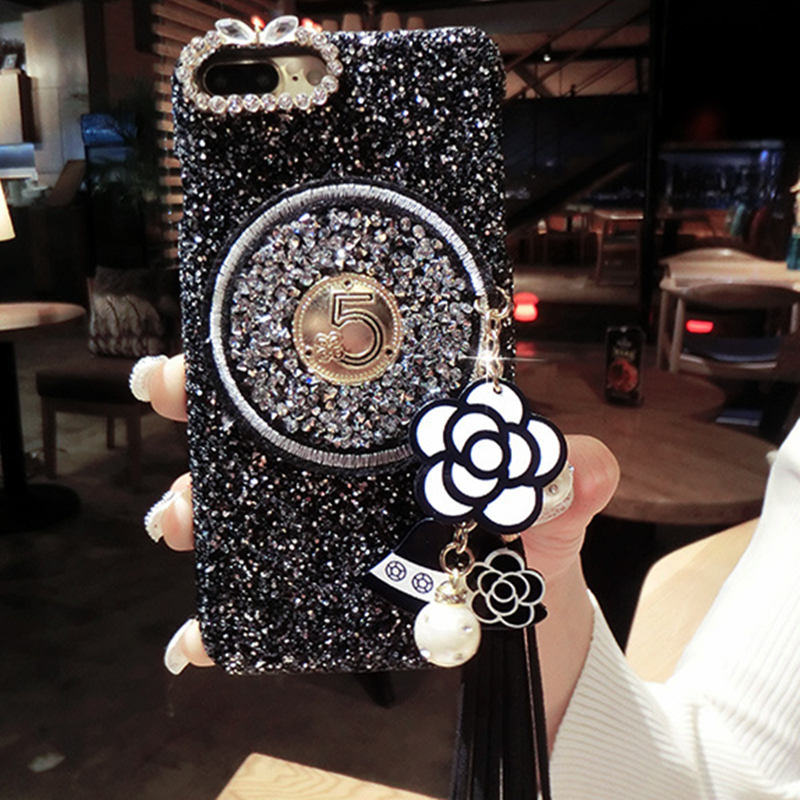 Brand Camellia Glitter Bling Soft Phone Iphone 6 S 7 8 Plus X XR XS MAX Cover For Samsung Galaxy S8 S9 Note 8 A8