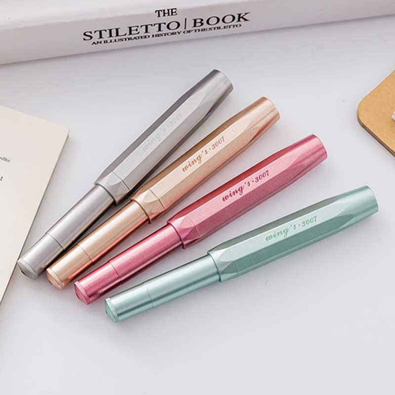 4PCS Set Creative Wing Sung 3007 Pocket Fountain Pen Wingsung Travel Short Ink Pen Iridium Extra Fine 0.38mm for Student Office wing sung wings antique iridium pen 840 red double color nib boxed authentic 90 s stock