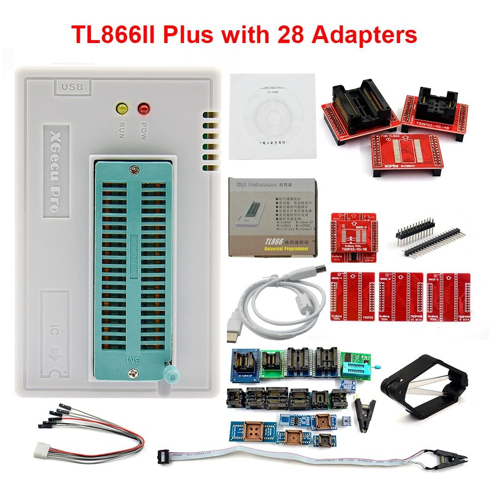 100 Original XGECU V8 51 TL866II Plus Universal Minipro Programmer 28 Adapters Test Clip TL866 PIC
