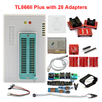 цена на Original XGECU V9.16 TL866II Plus Universal USB Minipro Programmer+28 Adapters+Test Clip TL866 PIC Bios High speed Programmer