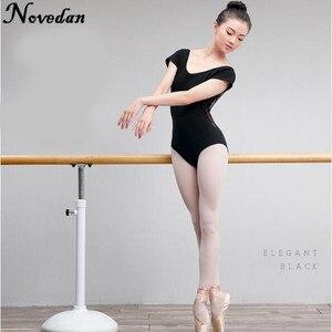 Image 2 - Leotardo para danza de Ballet para mujer adulto, traje de malla de encaje con tutú, manga corta y larga, negro