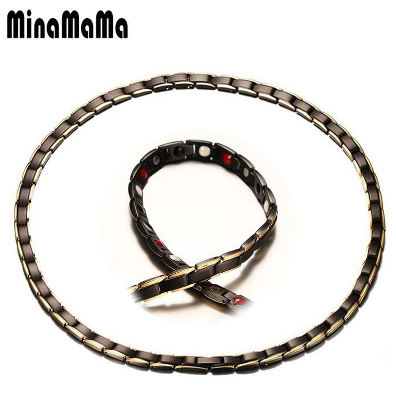 купить 316L Stainless Steel Black Necklaces Energy Balance Health Elements Germanium Magnetic Necklaces For Men Women Power Jewelry по цене 1590.46 рублей