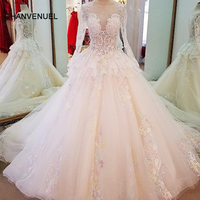 LS61796 Long Sleeve Lace Wedding Gowns Ball Gown Zipper Back Colorful Lace Flowers Wedding Dresses Casamento