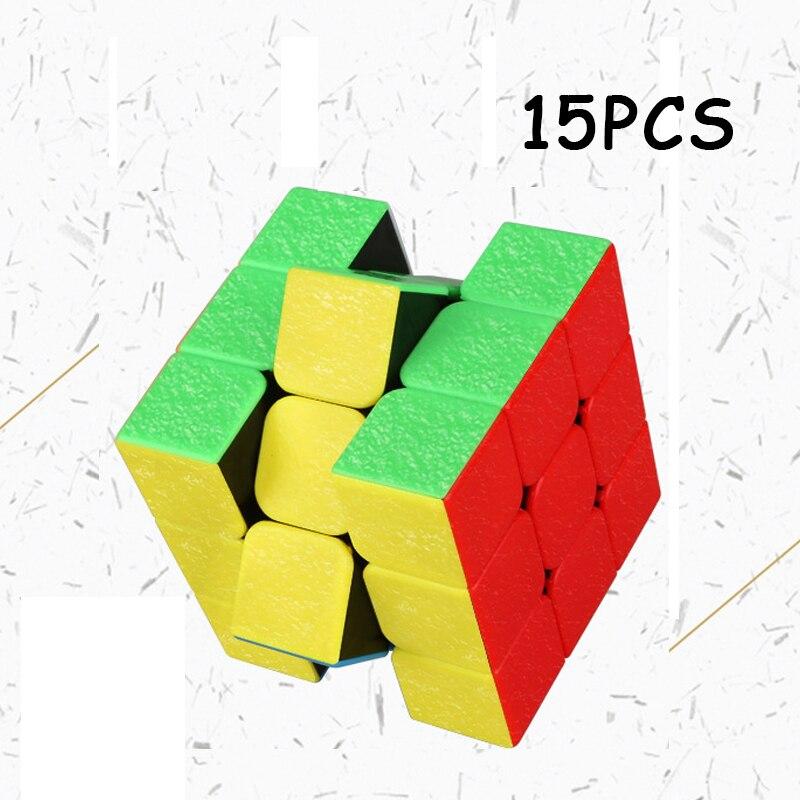 15 PCS ShengShou Bijou 3x3x3 cube Magique Professionnel Vitesse Twist Puzzle Cubo magico L'éducation Jouet Pour enfants Non Autocollant Neo Cube