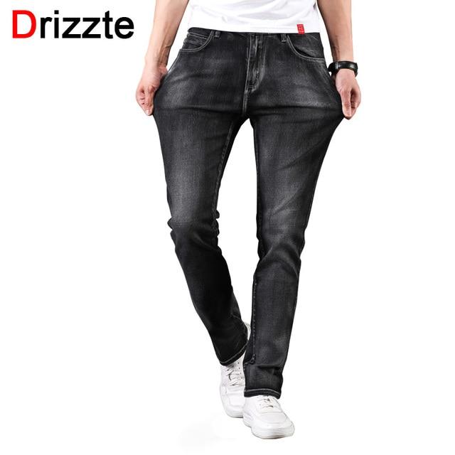 Drizzte Mens 2018 New Plus Size 28-46 Black Grey Stretch Slim Fit Jeans Denim Jean Mens Larger Big Man Pants 42 44 46