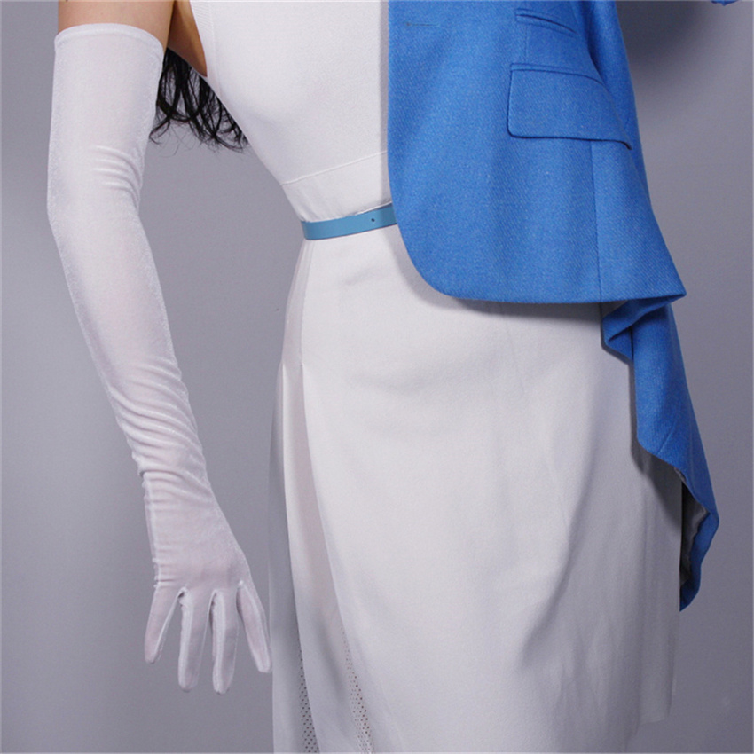 Velvet Long Gloves 60cm Long Pure White Female Models High Elastic Velvet Gold Velvet Touch Screen RBS60