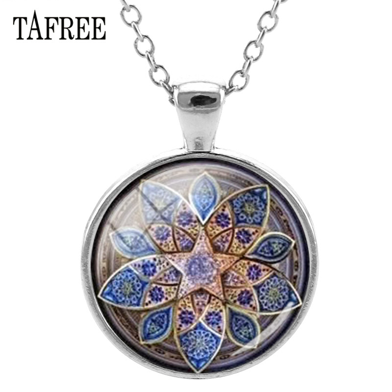 TAFREE Henna Toalla Mandala Necklace 25mm DIY Art Picture Glass Cabochon Dome Statement Necklaces Women Girl Jewelry HN479