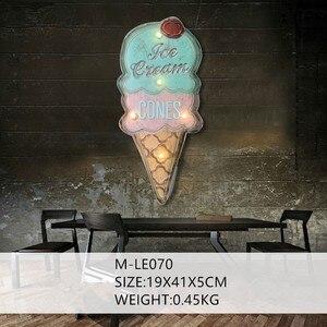 Canevas aux glaces, lumière LED signe de néon, décor mural Vintage, signes métalliques, panneau publicitaire pour le BAR, gâteau, boutique de boulangerie(China)