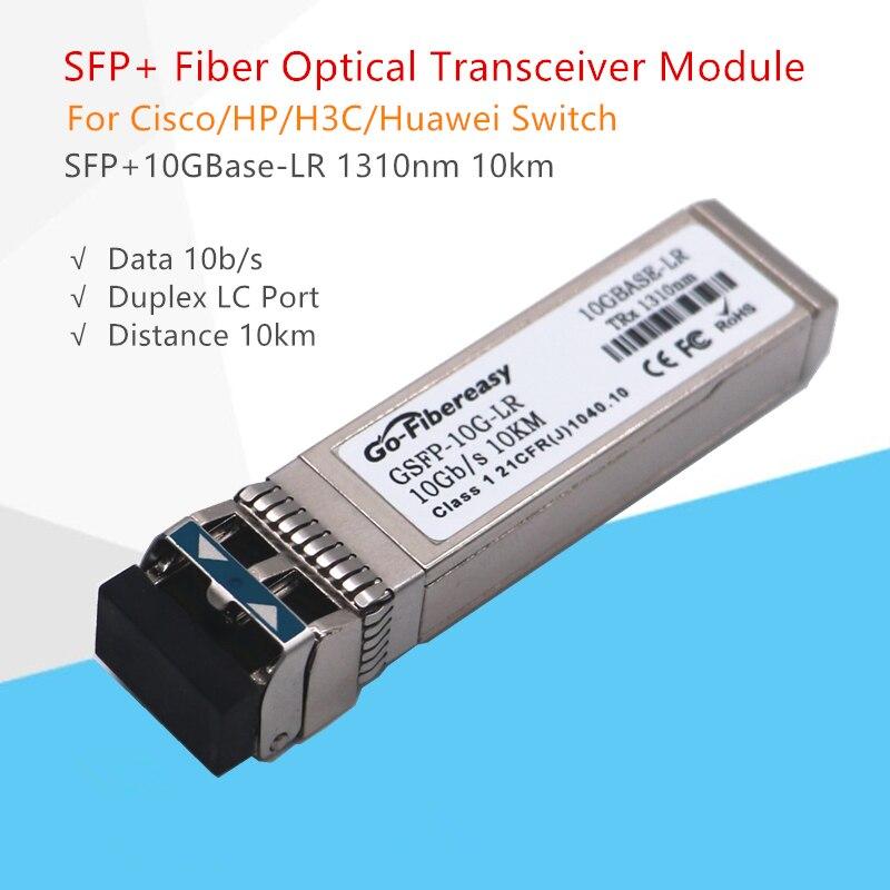 10 pièces SFP + 10G Module émetteur-récepteur SFP-10G-LR 10GBase-LR 1310nm 10km DDM Compatible pour Ubiquiti/Mikrotik/Zyxel