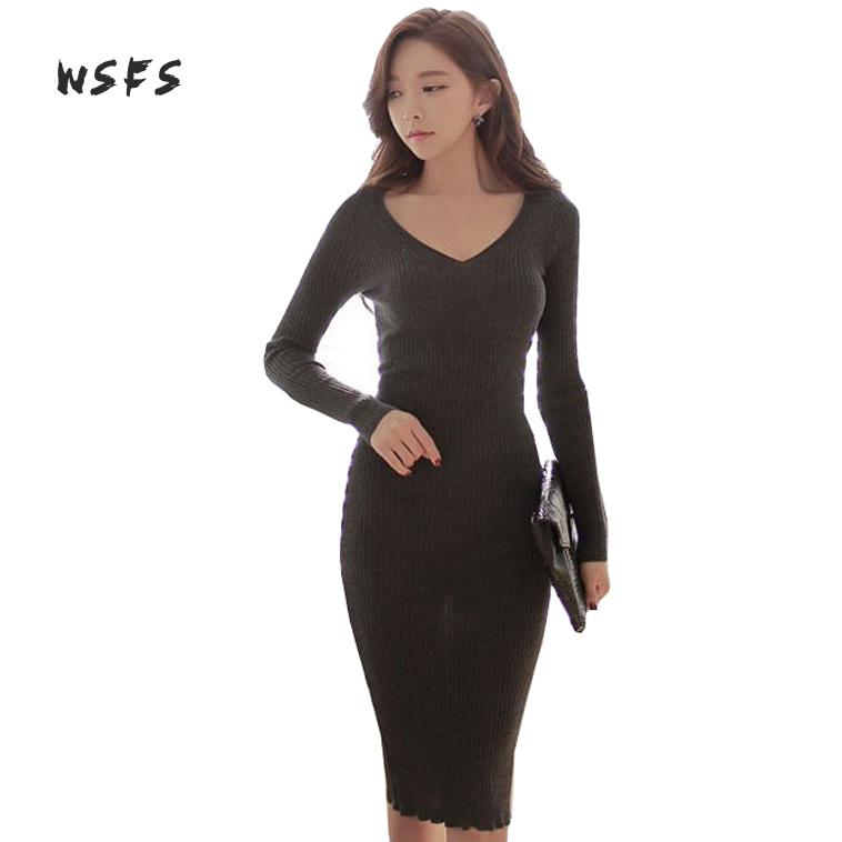Wsfs Winter Women Sweater Dresses Gray Red Khaki Knitted Long Sleeve Vneck Stretch Pencil Bandage Dress Sexy Slim Bodycon Dress цена