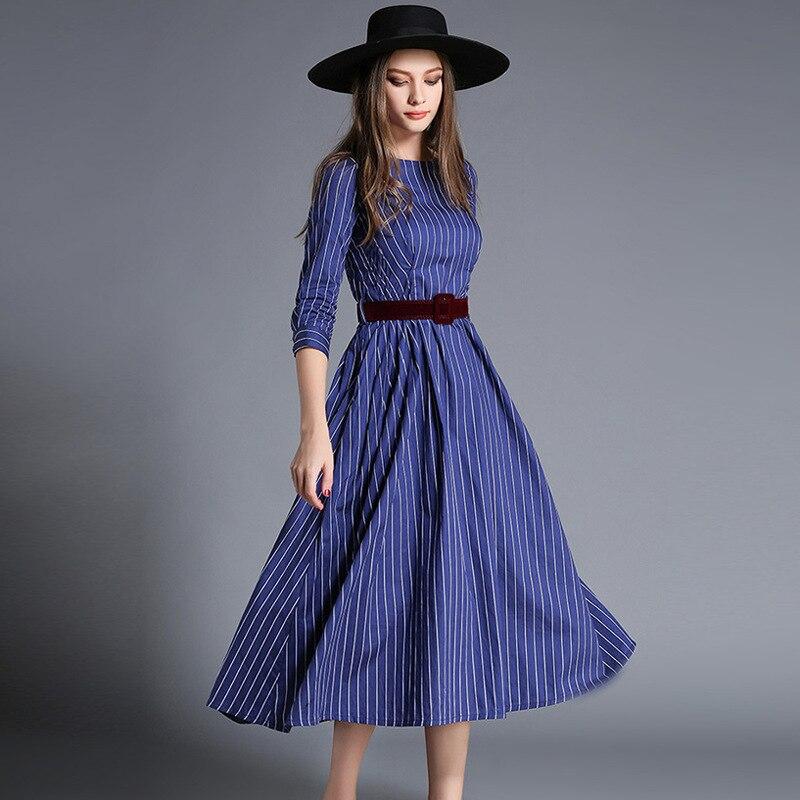 style autumn blue stripe pleated long dresses women new fashion round neck three quarters sleeve sashes high waist rushed dress