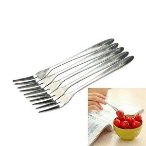 5 Pcs Stainless Steel Fruit Forks Tasting Appetizer Fruit Fork Cake Salad Dessert Fruit Fork