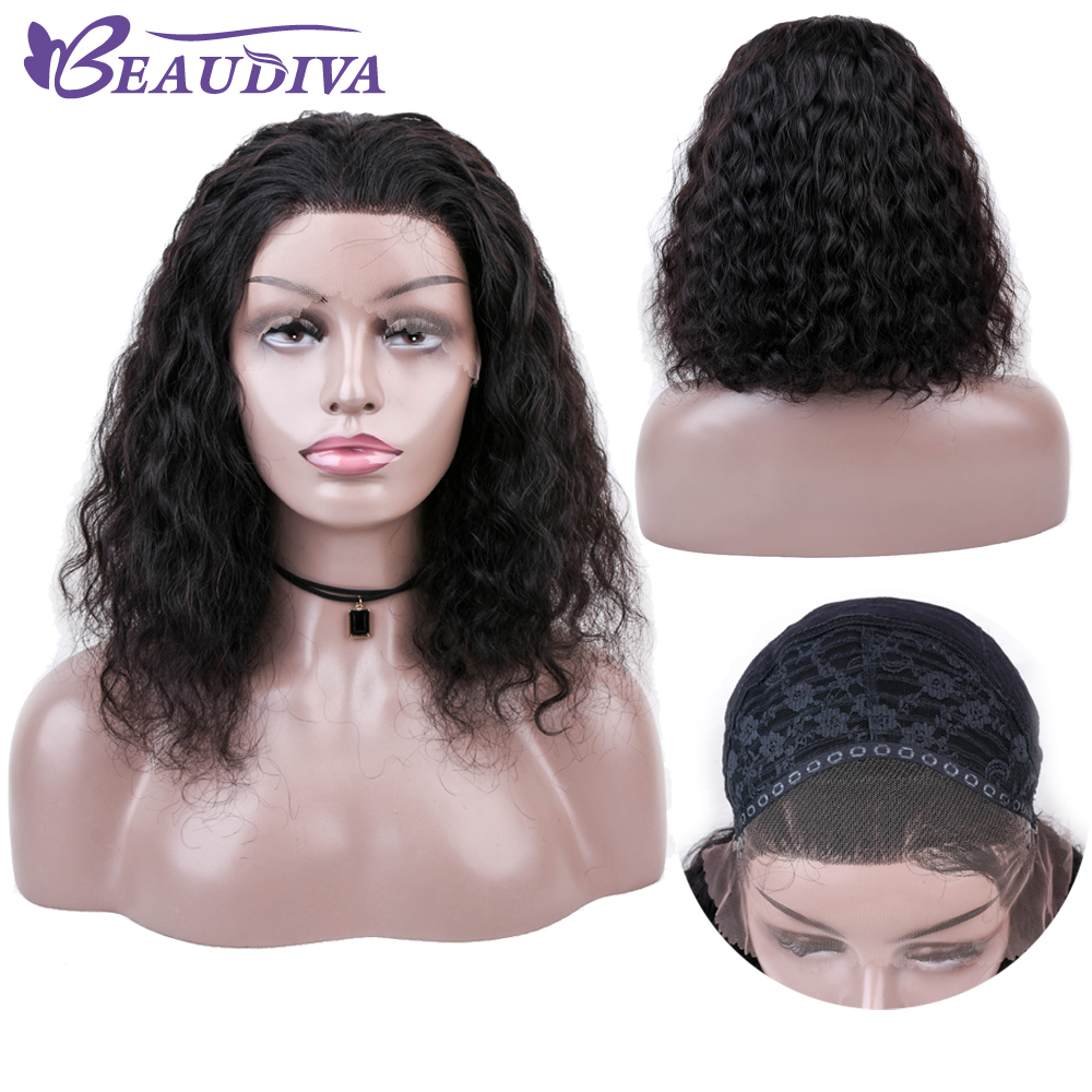 BEAU DIVA Lace Front Human Hair Wigs Natural Color Brazilian Curly Lace Frontal Wigs With Baby