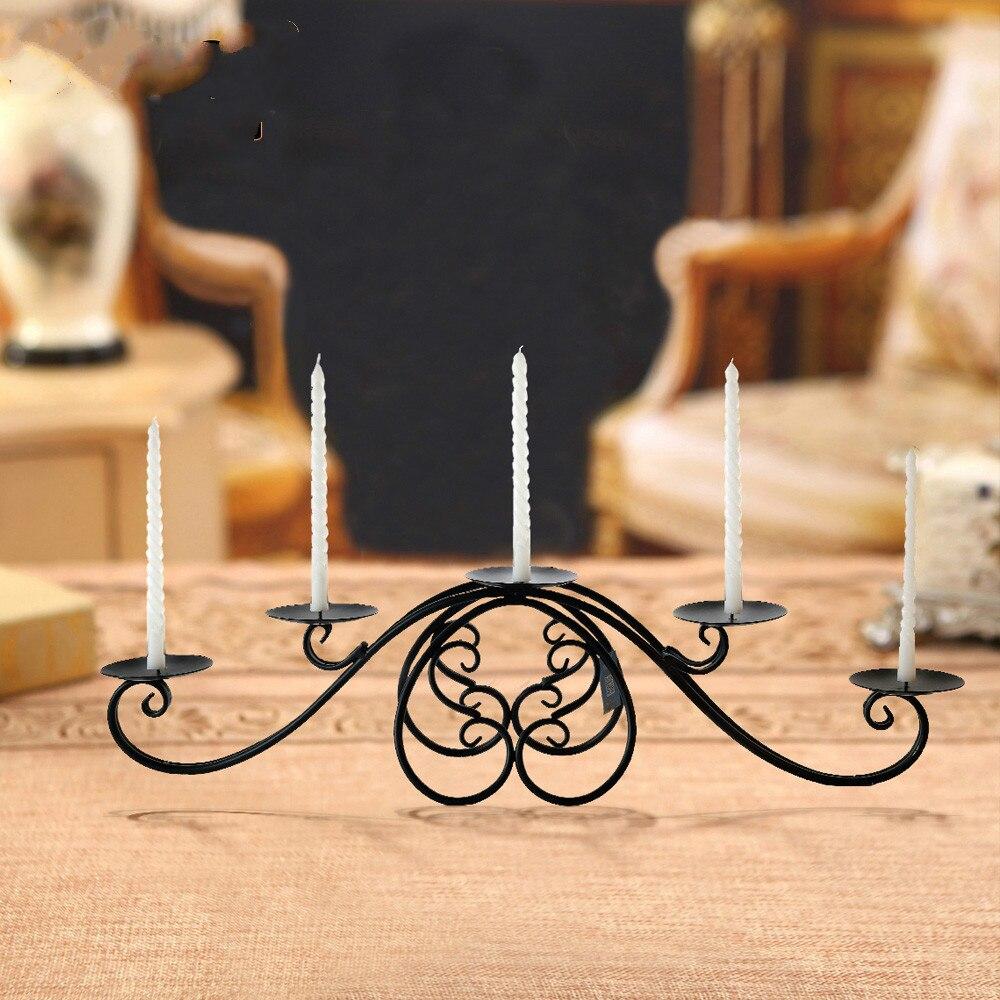 Trois/cinq têtes européen classique fer bougie chandelier décoration chandelier dîner bougeoirs
