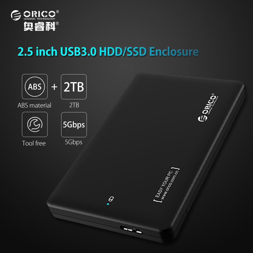 ORICO 2599US3 Sata to USB 3.0 HDD Case Tool Free 2.5 HDD Enclosure for Notebook Desktop PC hard disk Box (Not including HDD)