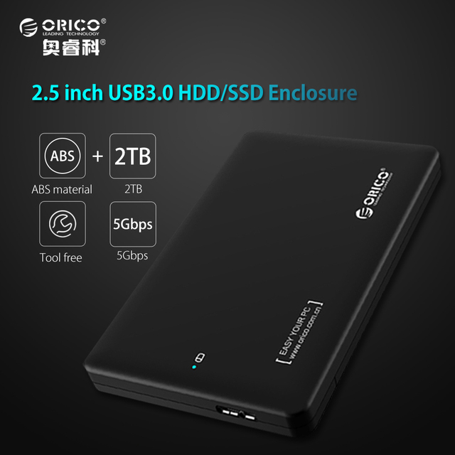 ORICO 2599US3 sata to usb 3.0 HDD Case Tool Free hdd 2.5 adapter for Samsung Seagate External hdd enclosure Hard Disk Drive box