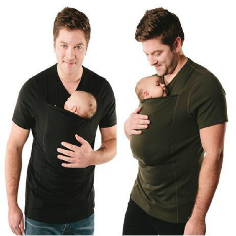Слингоношения одежда кенгуру слинг кенгуру футболка Для мужчин многофункциональный V шеи короткий рукав футболки успокоить папы и ребенка ... ...