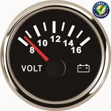 8-16v Pointer Type Volt Meters 52mm Waterproof Volt Gauges Voltage Meters for Auto Boat Truck Generating Units Engines