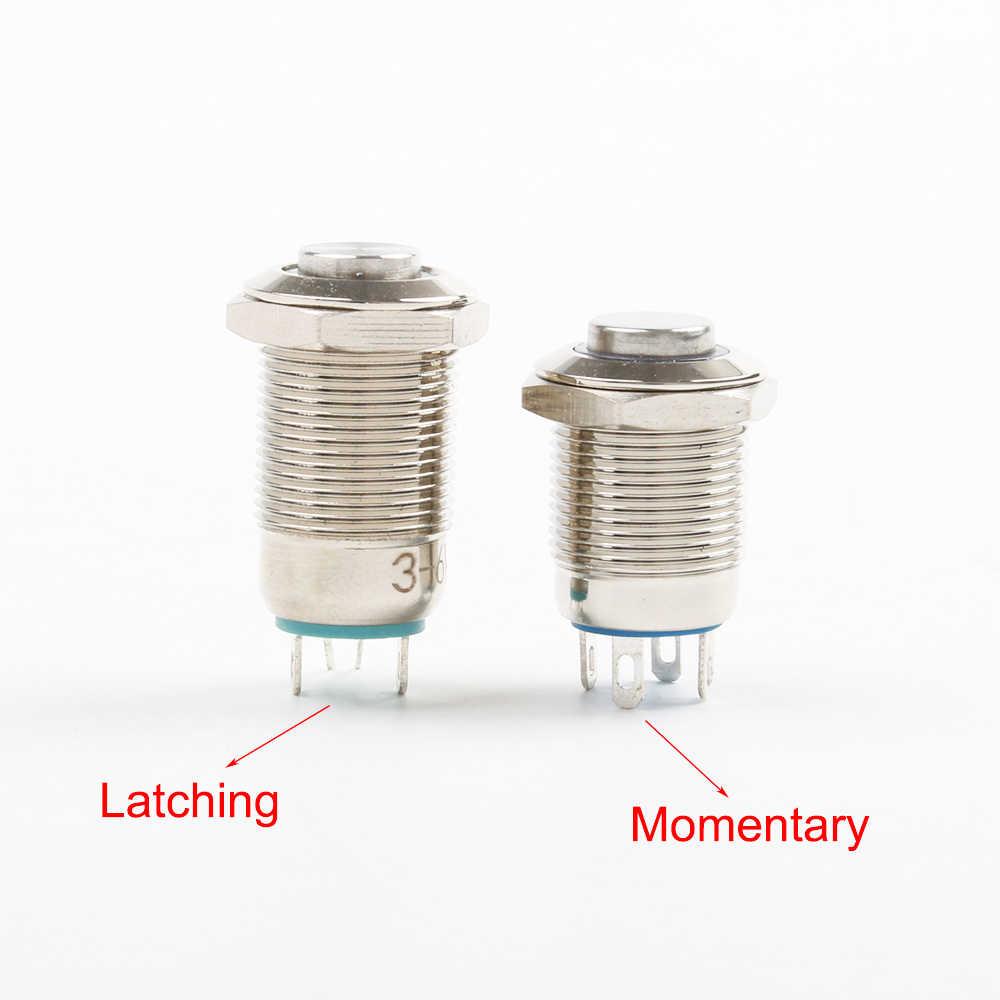 12 мм водонепроницаемый мгновенный металлический кнопочный переключатель из нержавеющей стали светодиодный светильник светящийся автомобильный рожок автоматический сброс с фиксацией самоблокирующийся 12 В
