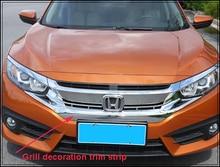 Высокое качество abs хром автомобиль гриль украшения яркий отделка газа для honda civic 2016
