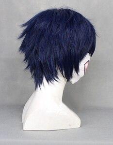 Image 3 - Ao no Blue Exorcist Okumura Rin Blue Short Heat Resistant Hair Perucas Cosplay Costume Wig + Free Wig Cap
