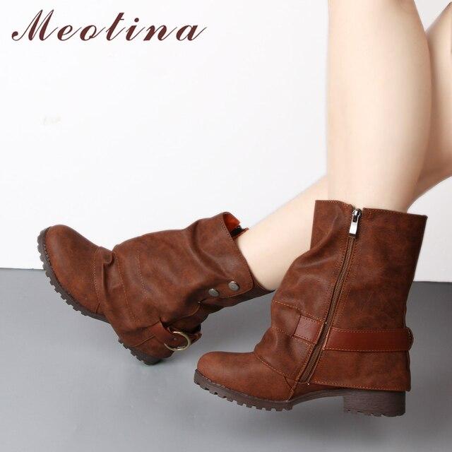 Meotina ミッドカーフブーツ女性プリーツ冬のバックルブーツの正方形ヒールブーツ乗馬靴秋の靴緑黒 43