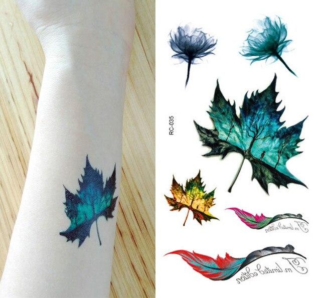 Nuevo Tatuaje Hoja De Arce Impermeable 1056 Cm 3d Claramente Moda