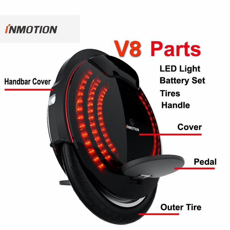 Original INMOTION V8 Teile Körper Shell Schutz Abdeckung Tasche Griff Einstellbare Pedal Inneren Reifen LED licht Einrad Zubehör
