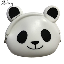 Aelicy Women Men Mini Purse Soft Surface Fastener Female Cartoon Silicone Coin Bag Keys Card Holder Bag Wallet For Credit Cards