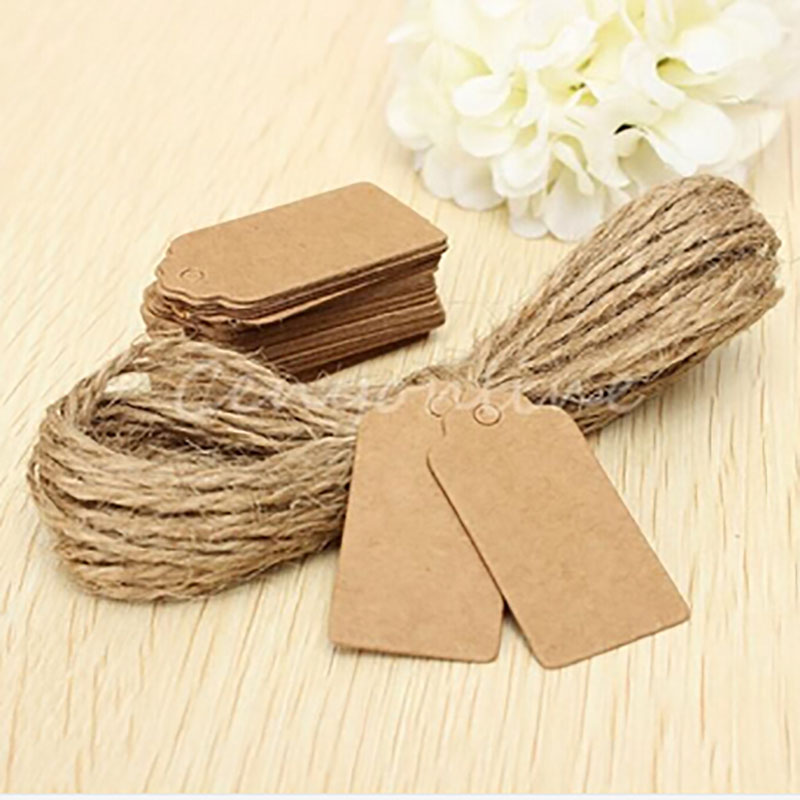 Whosale Brown Kraft Paper Tags Hemp Rope Head Label Luggage Wedding Note Tag 50+50String DIY Blank Price Hang Tag Kraft Gift Tag