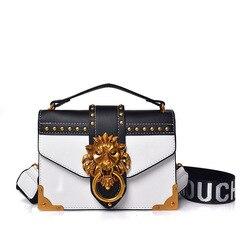 Moda pacote de ombro saco crossbody pacote metal cabeça leão mini pequeno quadrado embreagem feminina designer carteira bolsas bolsos mujer