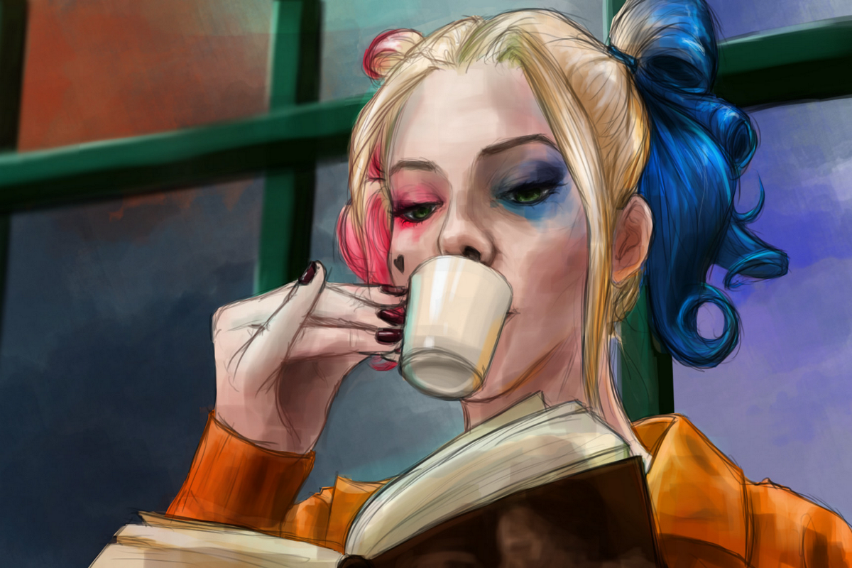 Suicide Squad Quinn Comics girl drink coffee Margot Robbie DM808 Room living room home w ...