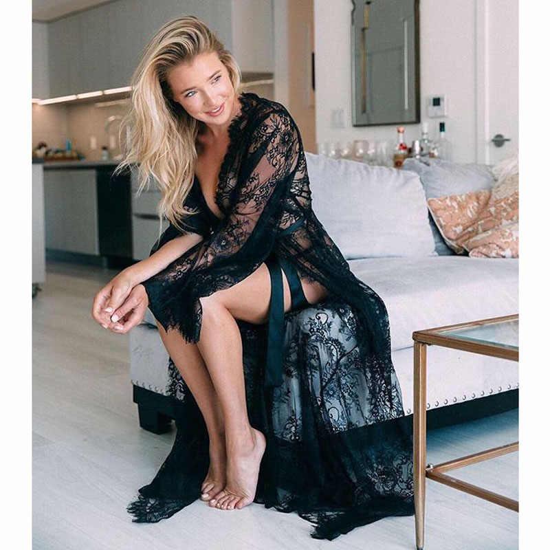 Wanita Renda Wanita Crochet Baju Renang Bikini Cover Up Hollow Crochet Baju Renang Bikini Lengan Panjang Penutup Pantai Sarung Kaftan