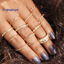 2017 New 12 pc/set Charm Gold Color Midi Finger Ring Set for Women Vintage Punk Boho Knuckle Party Rings Jewelry Gift for Girl