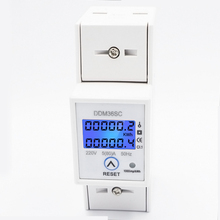 цена на Single phase Two wire with Reset function AC220V/230V 50Hz/60Hz Din Rail wattmeter energy meter power meter KWh meter watt meter