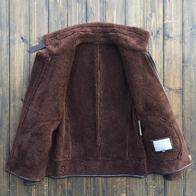 خمر الطبيعي Shearling رجل رحلة الجيش طيار سترة جلد الغنم الحقيقي الحقيقي الفراء بطانة الشتاء العسكرية أبلى معطف-في معاطف جلد طبيعي من ملابس الرجال على  مجموعة 2