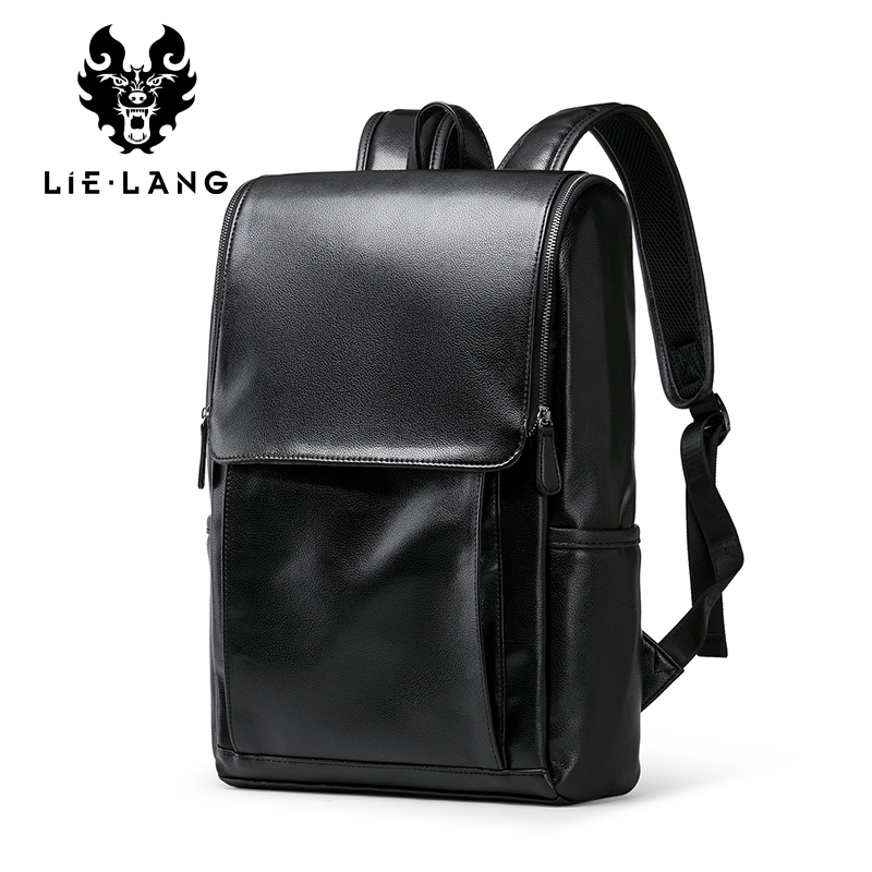 Simple Backpack Men Pu Leather Bags Male Business Black Bag Pack Anti-theif Backpack Double Shouldern Strap Bags College