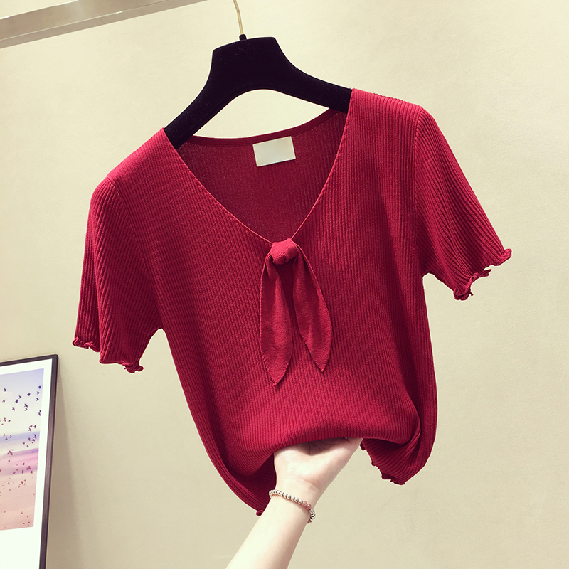 T Shirt Women Cotton Casual Knitted Short Sleeve Bow Short Shirt Solid V neck Slim Fit New Style