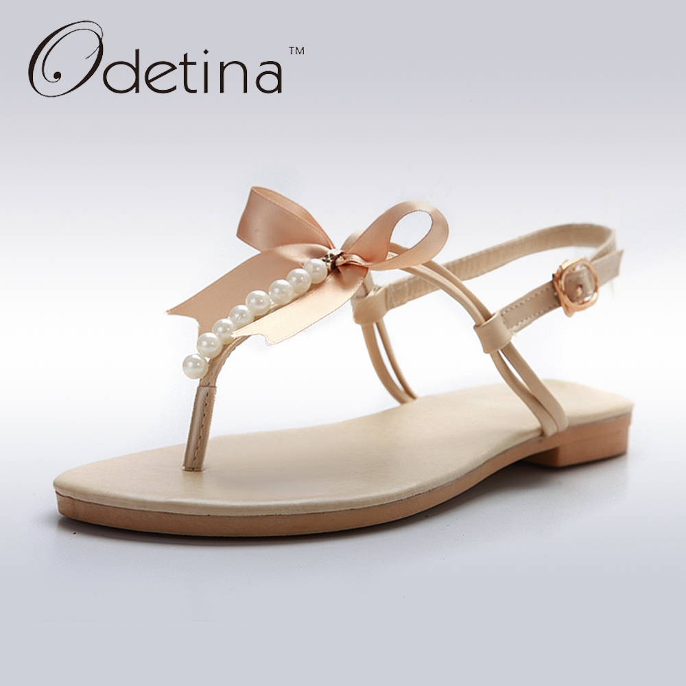 Odetina 2018 New Summer Ankle Strap Sandals Flat Buckle String Beading Sweet Bow Flip Flops Women Pearl Sandals Big Size 34-43 new 2018 women open toe flip flops fashion ankle strap gladiator sandals women big size 34 43 ladies casual flat rome sandals