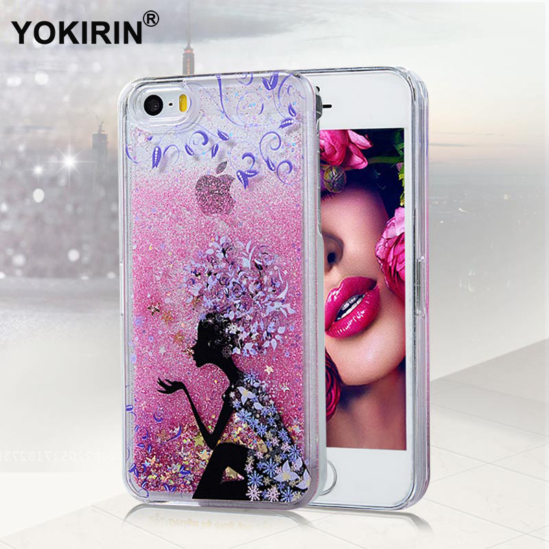 fc3bf744e2 YOKIRIN Painting Dynamic Liquid Glitter Sand Star Case For iPhone 5 Crystal  Cellphone Back Quicksand Cover For iPhone 5 5S SE