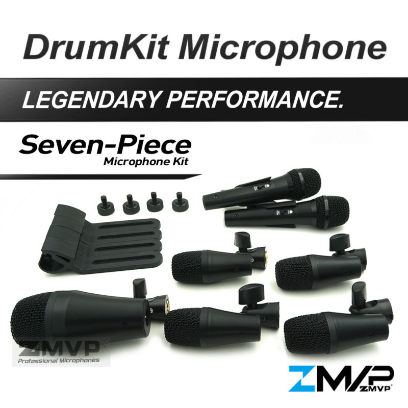 Free Shipping!! P DMK7 Professional Percussion Drums Guitar Brass 7 Piece Drum Kit Instrument Microphone Mic with Carrying Case