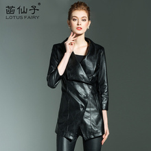 Genuine Leather Medium Single Breasted Plus Size Office Lady Leather Jacket Woman Three Quarter Turn-down Collar Motorcycle Coat