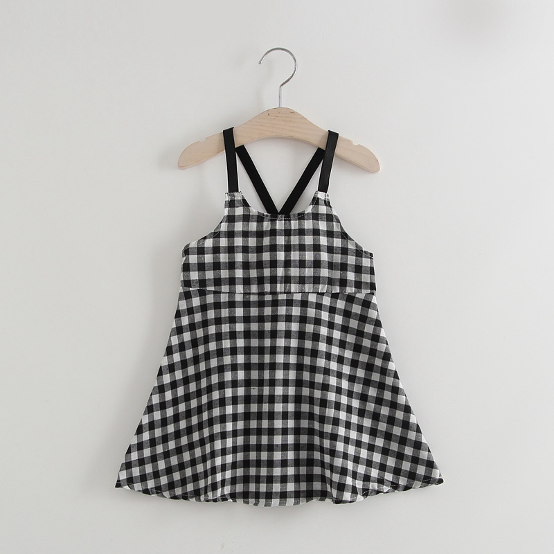 Baby Black and White Plaid Strap Dress Girls Summer Cute Clothes Party Fashion Princess Wedding Party Dress(China)