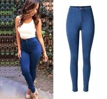 2017 Новых женщин высокой талии Тонкий стрейч джинсы женская мода конфеты цвет ковбойские штаны большой размер Хлопок Джинсовые Джинсы женский