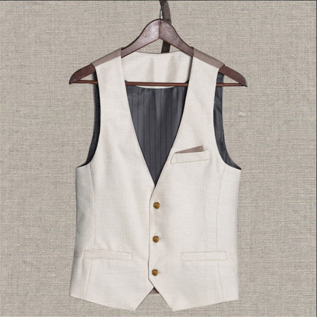 Mens Summer Vest Suit Single Breasted Mens Linen Formal Business Men Dress Vests Slim Fit Casual Sleeveless Jacket Male A997