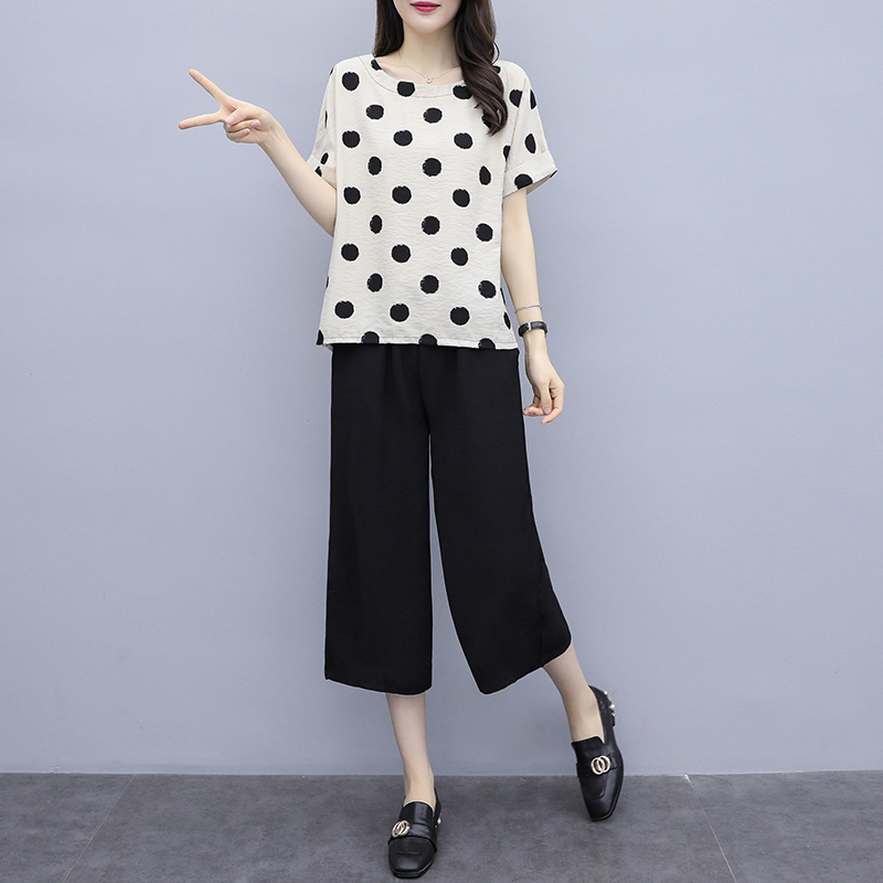 L 3XL 4XL 5XL Plus Size Summer 2 Piece Set Outfit Tracksuit for Women 2019 Pants Suits and Top Polka Dot Sportswear Co ord Set in Women 39 s Sets from Women 39 s Clothing