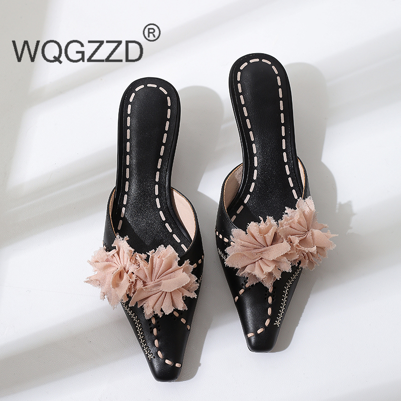 Sandalias mujer 2019 brand high heels shoes women slippers genuine leather flower decoration new summer flip