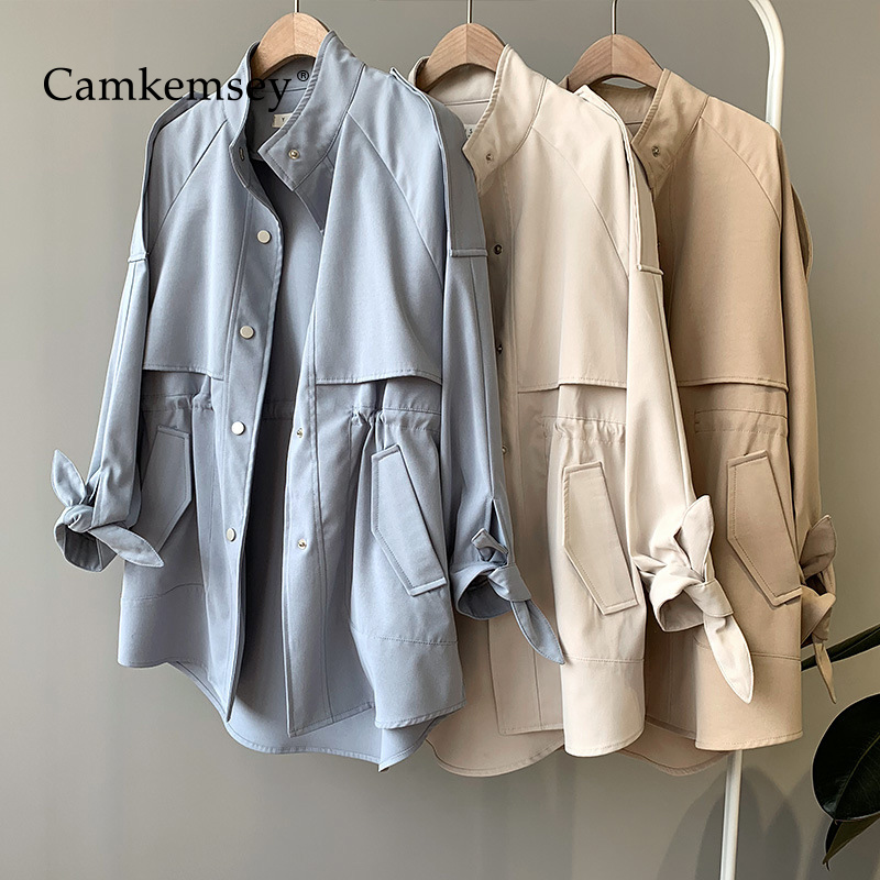 CamKemsey Spring Women   Trench   Coat 2019 Autumn Fashion Stand Collar Casual Pockets Single Breasted Adjust Waist Long Coat Female