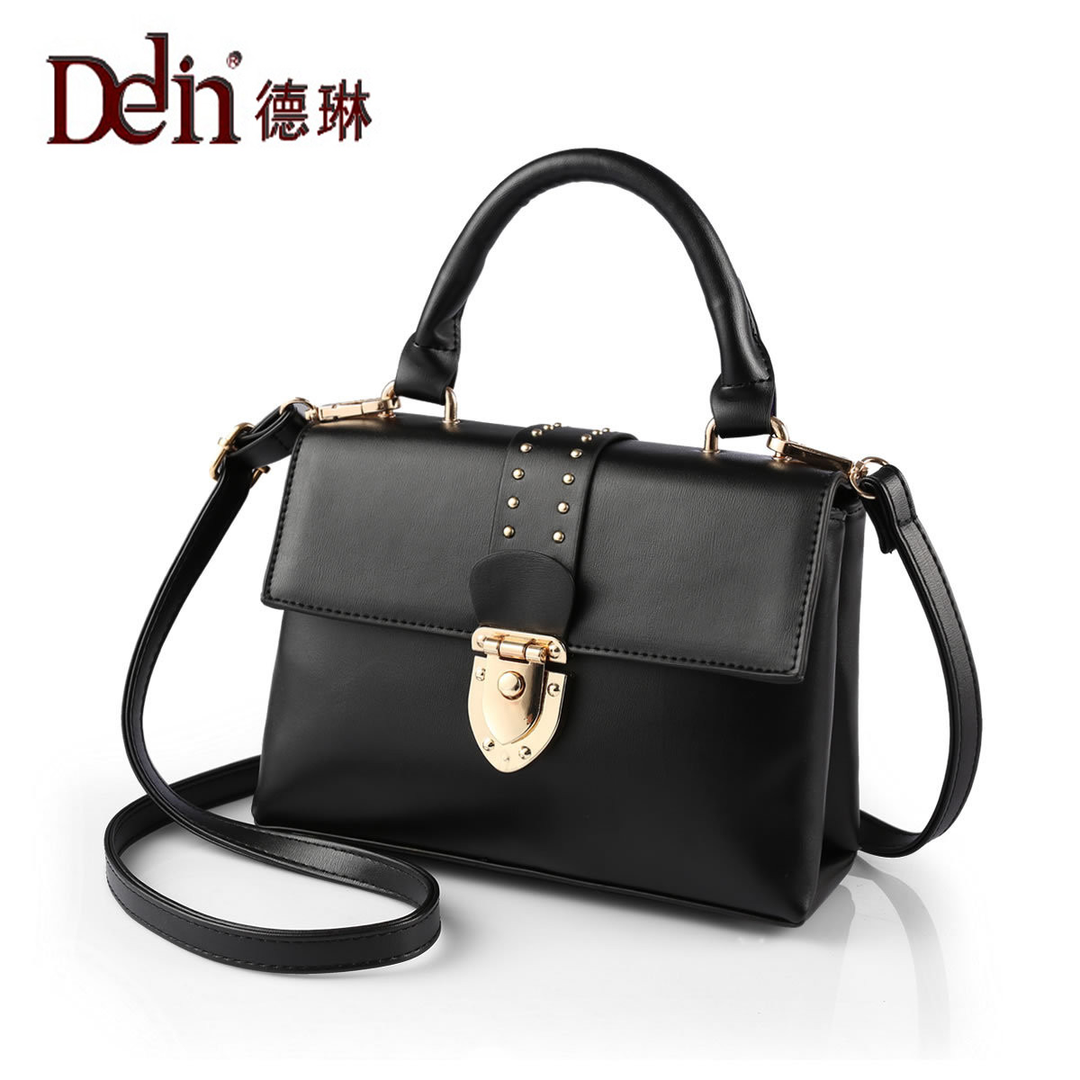 DELIN Manufacturers selling 2017 new female han edition lock rivet single shoulder bag fashion handbags wholesale PU leather