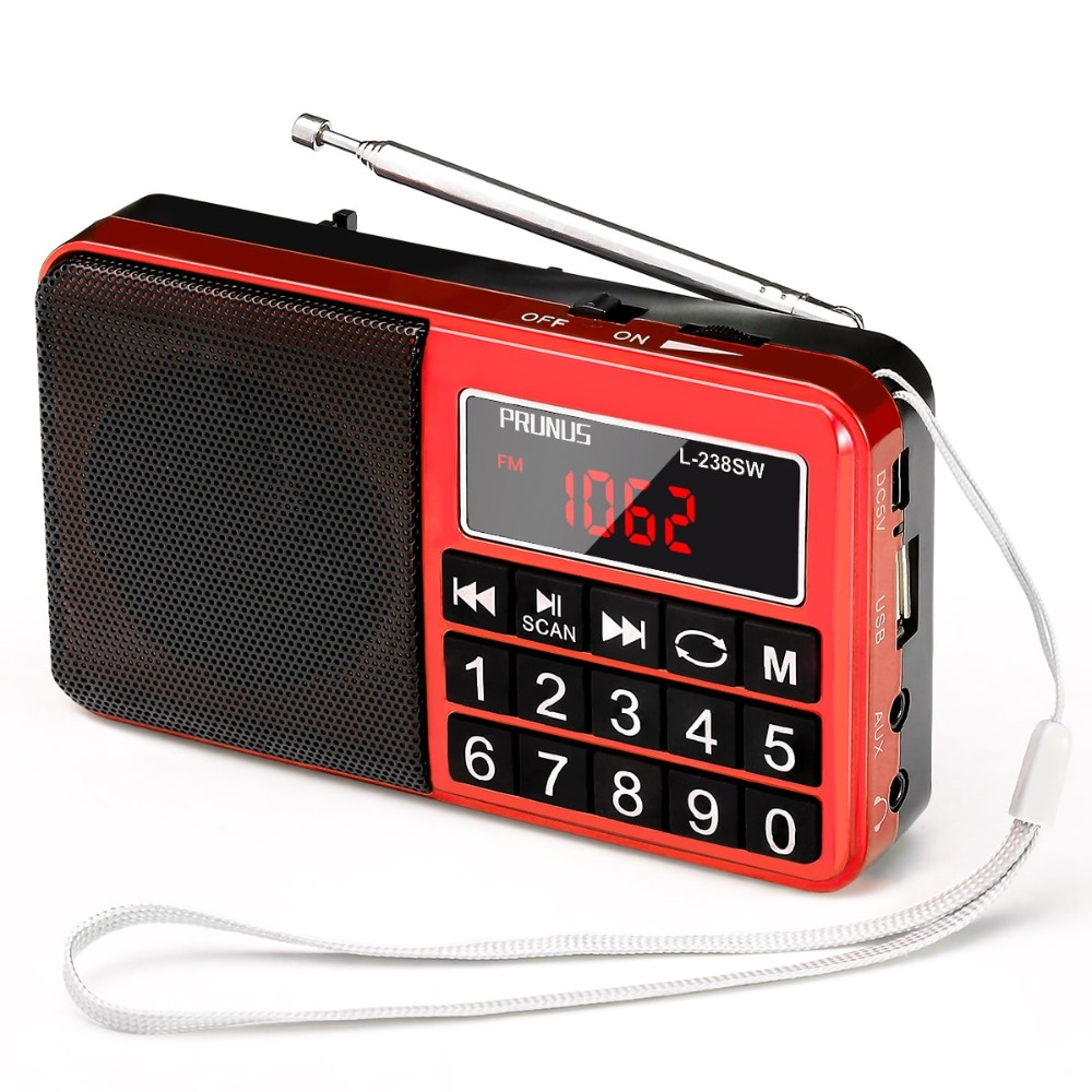 PRUNUS Portable SW AM(MW)//SD//USB MP3 radio with neodymium speaker. FM